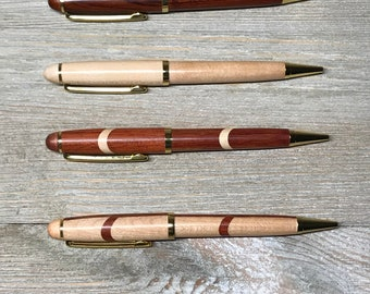 PERSONALIZED Exotic NATURAL Wood Pen, Engraved Wooden Pens, Rosewood Pens, Multi Color Pens, Laser Engraving Beautiful NEVER get  Erased