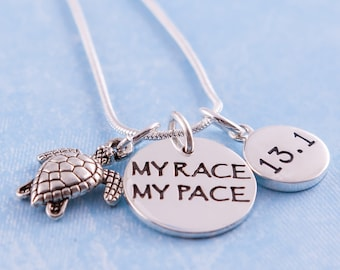 My Race My Pace Running Distance Charm Trios 925 Sterling Silver -  Pick one running distance charm (13.1, 26.2, 5K or 10K)