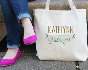 Personalized Leafy Bridesmaids Bag // Bridesmaid Leaf Name Personalized Tote Bag Custom Bridesmaid Canvas Bag // Wedding Party Gift Bag