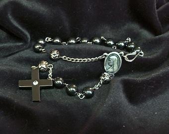Onyx Rosary Decade bracelet