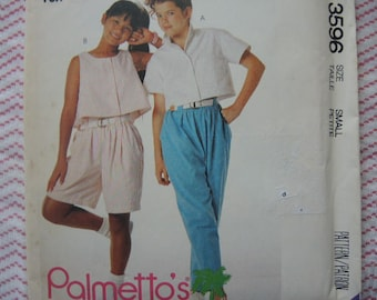 vintage 1980s McCalls sewing pattern 3596 girls top pants or shorts size small size 10-12