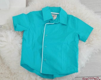 Boy's short sleeves shirt turquoise