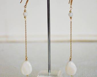 Long handmade earrings chain and briolette