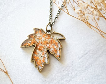 Real Pressed Flower and Resin Necklace Maple Leaf in Orange and White
