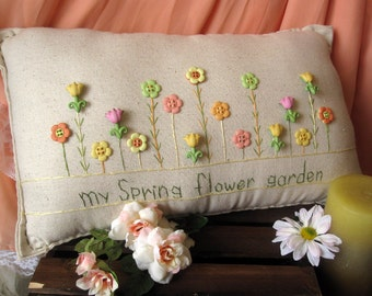 My Spring Flower Garden Pillow (Cottage Style)