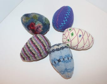 Set of 5 Easter Eggs: wool - made from felted wool sweaters, embroidered. Wool stuffed eggs multi-colored Easter eggs with embroidery