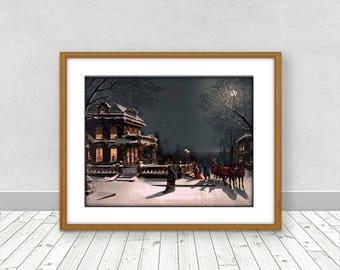 SALE Vintage Christmas Winter Scene  Wall Decor Victorian Art Print Instant Digital Download 25% off