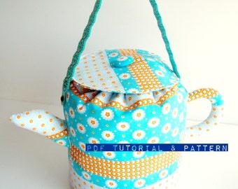 Teapot Handbag Sewing Tutorial, PDF Pattern, Whimsical Handbag Tutorial