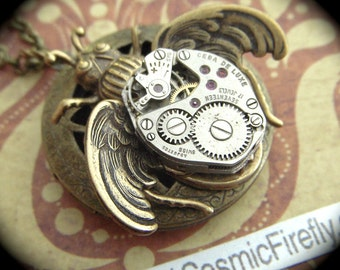 Steampunk Locket Necklace Rustic Winged Bug Necklace Steampunk Necklace Vintage Watch Movement Gothic Victorian Antiqued Brass Locket NEW