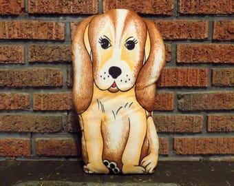 "Vintage Puppy Dog Fabric Panel 18"" Doll"