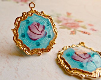 Two Vintage Sarah Coventry Enamel Guilloche Hand Painted Pendant Charms (4-45-1)