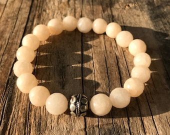 Agate and Sterling silver 925 bracelet, Faceted Agate gemstone, boho chic, stacking bracelet, boho jewelry