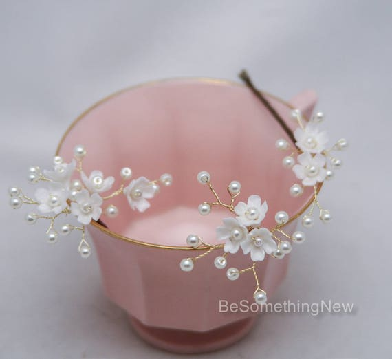 Hochzeit Haarnadeln Blumen und Perlen Braut Bobby-Set von