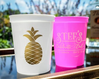 Pineapple Party Cups, Bachelorette Party Cups, Pineapple Cups, Plastic Party Cups, Custom Plastic Cups, Plastic Wedding Cups, Party Favors