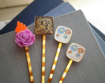 Vintage Enamel Cabochon Barrettes - Floral Buables Handmade Barrette Set - Retro Flowers Hair Accessory / Hair Pin / Barrettes Gift For Her