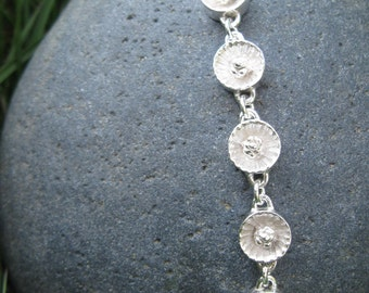 Small Tennessee Coneflower Silver Link Bracelet