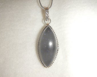 Blue Goldstone pendant necklace in .925 sterling silver (P596)