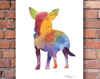 Chihuahua Art Print - Abstract Watercolor Painting - Wall Decor
