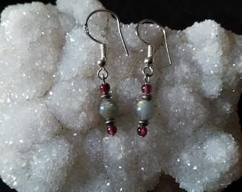 Labradorite Garnet 925 sterling silver dangling earrings