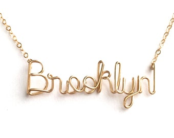 Brooklyn Necklace 14k Gold Fill. Custom Name Necklace.