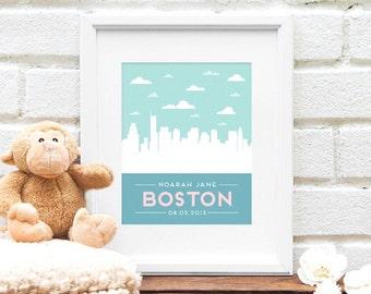 Boston baby etsy boston skyline boston city skyline newborn baby gift baby nursery art city skyline negle Images