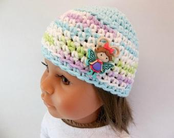18 inch Doll  Crochet Hat Aqua & White Flutterbug Accessories Toys