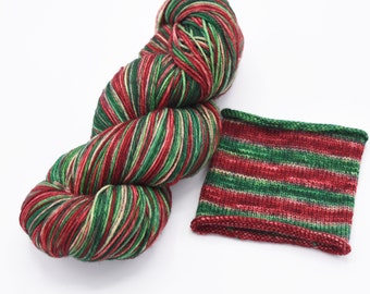 Closer Than You Think Christmas Watercolor Stripes - Self-Striping Sock Yarn Made to Order