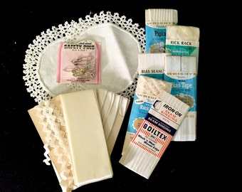 Mid Century Sewing Notions-white-Free Shipping