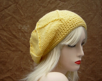 Yellow slouchy beanie, accessories, gift for her,  knitted hat, handmade hat, winter gift, great gift,  women hat, cozy warm, ladies hats.