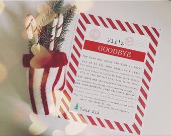 Christmas Elf Goodbye (can HUG & KISS rule-breaker) End of Stay Printable - Vintage Typewriter Style - Instant Downloadable Printable PDF!