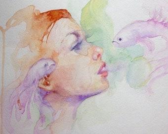 Beta fish watercolor study 11x14