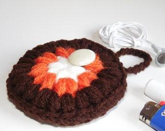 Stash pocket, Headphones case, Puff Pocket, Purse pocket, Stash bag Brown Orange White