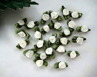36 pcs Tiny Ivory Ribbon Rose Bud with Green leaves Appliqués  for Crafting, Sewing, Doll Clothes, Baby Clothes - 1/2 inch/ 15 mm