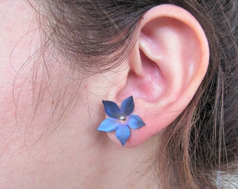 Titanium Earrings, Blue Flower, Floral Jewelry, Flower Earrings, Gift for Her, Nature Jewelry Botanical Jewelry, Gifts for Nature Lovers