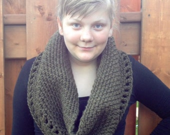 Crocheted  Cozy Cowl in Olive, Photo Prop Hat Scarf Shawl Fall Winter
