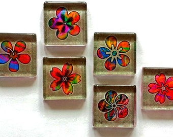 Magnets - Flowers - Necklace Cabochon Supplies - Set of 6 - 1 Inch Glass Squares - Free U.S. Shipping