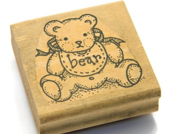 Teddy Bear Stamp - Bear Rubber Stamp - Cute Bear Stamps - Bear Design Stamps - Baby Shower Stamp - Cardmaking Stamps - Wood Mounted Stamps