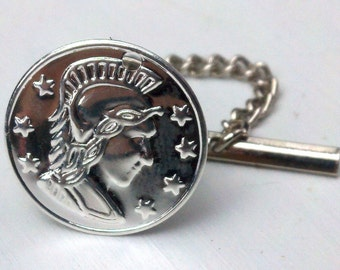 Tie tack with silver roman coin