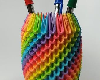 Rainbow 3D Origami Pencil Holder ~ Pen Holder - Modular Origami ~ Desk Accessory ~ Office Origami