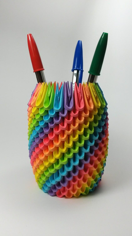 Rainbow 3d origami pencil holder pen holder modular zoom jeuxipadfo Choice Image