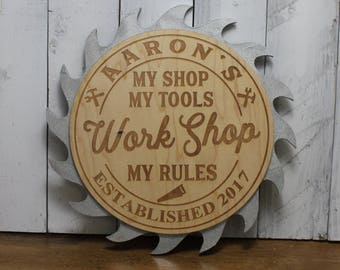 WORK SHOP Sign-My Shop-My Tools-My Rules-Established Year-Work Shop-Workshop-Engraved-Christmas Gift-Silver Saw Blade-TR100060