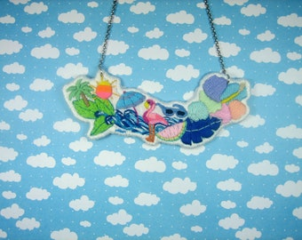 """Embroidered necklace """"Summer"""""""