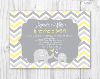 Elephant baby shower invitation, yellow and grey chevron baby shower, yellow and grey baby shower, mom and baby elephants