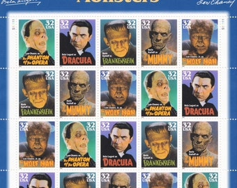 Qty of 20 Classic Movie Monsters 32 cent 1997 vintage postage stamps, These stamp are in excellent unused condition.
