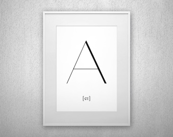 Typography Art Print - A - Letter poster - Printable - Wall Art