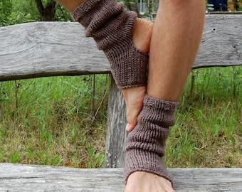 Men's Yoga Socks, Hand Knit Yoga Socks,  Knitted Toe-less Socks,  Knitted Spats,  Flip Flop Socks, Piyo Socks, Yoga Wear,  Pedicure socks
