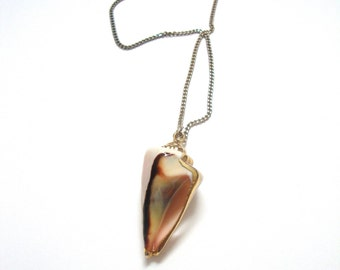 Vintage Shell Necklace : spiral shell vintage gold dipped seashell necklace
