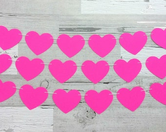 Valentine Garland / Pink Heart Garland / Wedding Garland / Valentine Heart Garland / Cancer Awareness / Garden Party Garland / Heart Banner