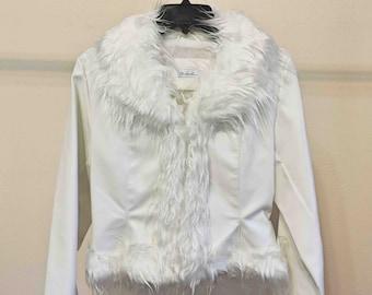 Charlotte Russe Vintage Women Medium Jacket White With Faux Fur Fringe