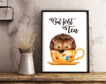 But first tea poster Animal Tea poster Tea Kitchen poster Tea Art Typography poster Tea Lover Home Decor Tea poster Cute Tea poster Tea art